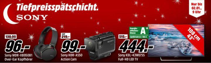 Media Markt SONY Tiefpreisspätschicht   günstige TVs, Kopfhörer, Action Cams   z.B. SONY SmartBand 2 SWR12 für 35€