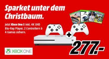 Xbox One S mit 500 GB + Forza Horizon 3 + Hot Wheels + Forza Motorsport 7 + FIFA 18 + Minecraft + 2. Controller für 277€