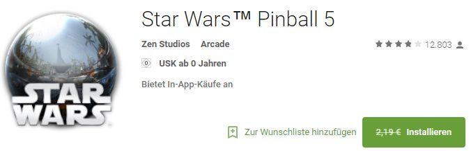 Star Wars Pinball 5 (Android) gratis statt 2,19€