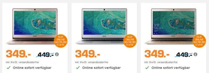 ACER Swift 1   13.3 Zoll Notebook mit Intel N4200, 4GB RAM 64GB eMMC für 349€