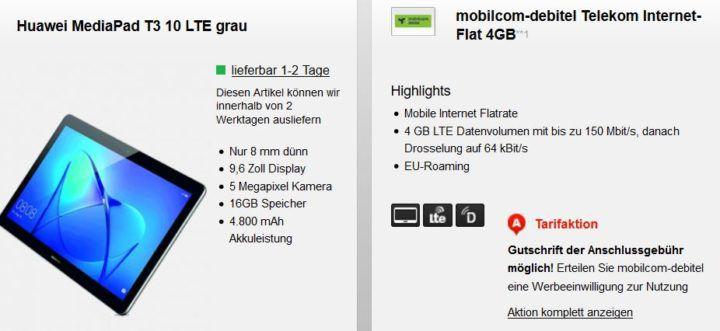 Huawei MediaPad T3 10 LTE  Tablet + 4 GB oder 10 GB Telekom LTE Flat ab 12,90€ mtl.