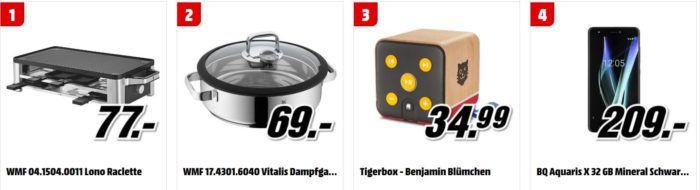 Media Markt Tiefpreisspätschau: u.a. WMF Lono Raclette für 77€   Tigerbox   Benjamin Blümchen statt 32€ für 25€