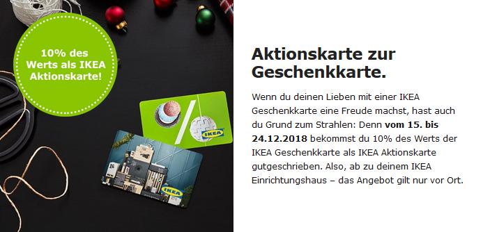 IKEA: Geschenkkarten kaufen und 10% des Wertes zusätzlich geschenkt bekommen