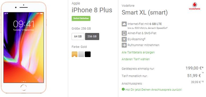 iPhone 8 Plus mit 64 GB für 19€ + Vodafone Smart XL mit 6GB LTE für 52,78€ mtl.