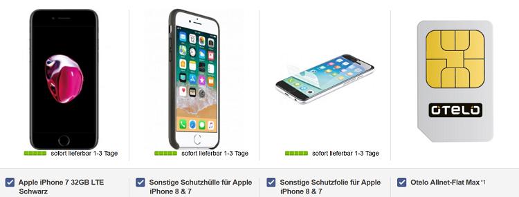 Apple iPhone 7 32GB mit Hülle für 99€ + Otelo Allnet Flat Max mit 6 GB Datenflatrate für 29,99€ mtl.