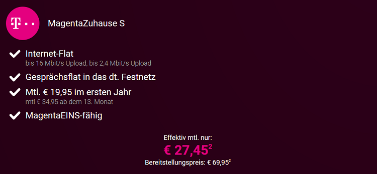 Magenta Zuhause S für 27,45€ mtl. mit z.B. PS4 Pro für 1€   Junge Leute Vorteil möglich