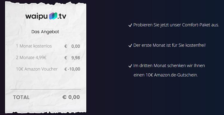 3 Monate waipu.tv für 9,98€ + 10€ Amazongutschein