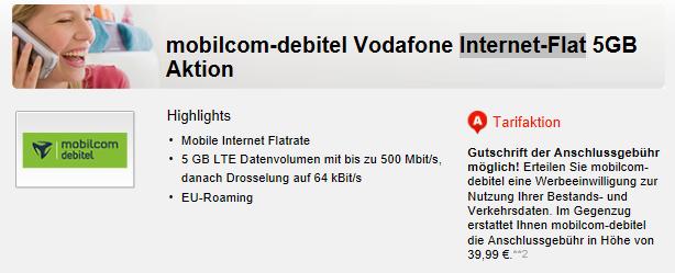 Vodafone Internet Flatrate mit 5 GB Daten für nur 7,99€ mtl.