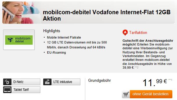 Vodafone Internet Flatrate mit 12GB LTE Daten für 11,99€ mtl.