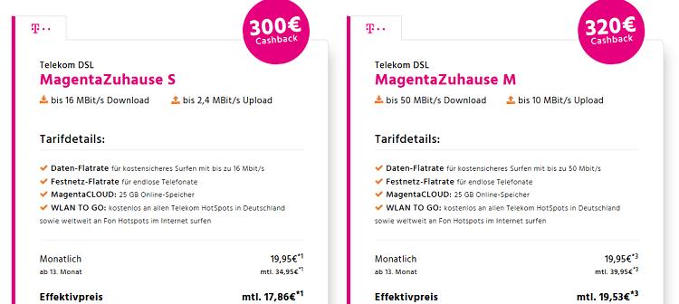 Telekom Magenta Zuhause S, M o. L dank Cashback ab 14,95€ mtl.