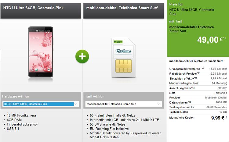 Verschiedene Smartphones   z.B. HTC U Ultra mit 64 GB für 49€ + o2 Smart Surf mit 50 Min + SMS + 1GB für 9,99€ mtl.