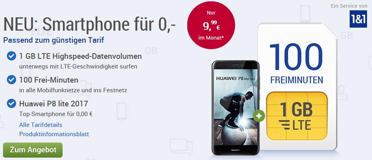 GMX Tarif mit 100 Freiminuten + 1 GB LTE + Huawei P8 Lite (2017) für 10,40€ mtl.