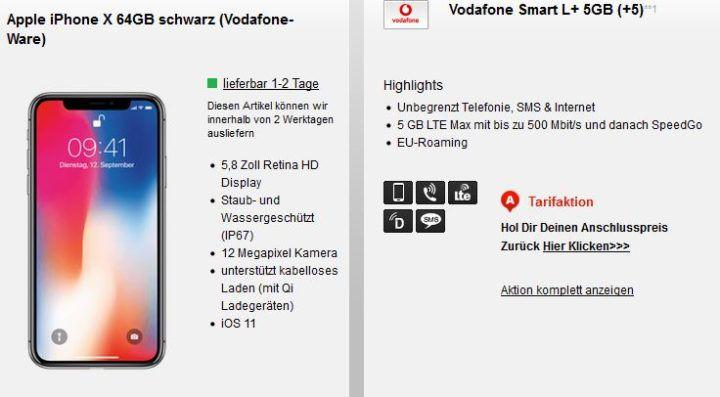 Apple iPhone X 64GB + Vodafone AllNet & SMS Flat mit 5GB LTE für eff. 60,70€ mtl.