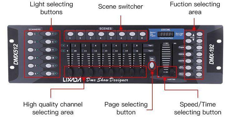 Lixada   DMX Lichtsteuerpult mit 192 Channels für 24,29€ (statt 53€)