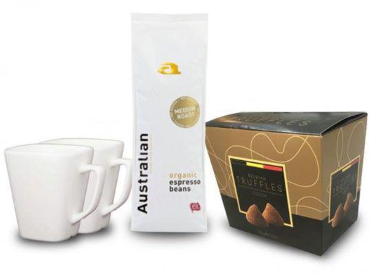 750gr Australian Medium Roast Bohnen + 2x Kaffeetassen + eine belgische Trüffelschokolade für nur 19,99€