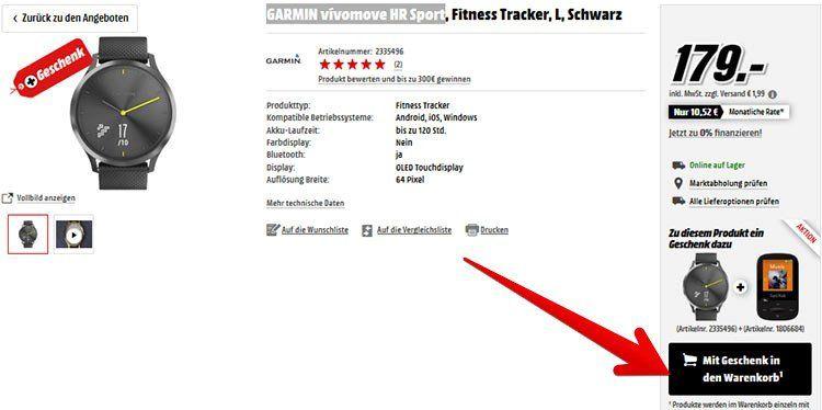 GARMIN vívomove HR Sport (L) + SANDISK SanDisk MP3 Player (8GB) für 180,99€ (statt 240€)