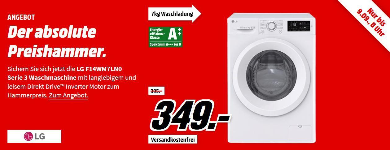 LG F 14WM 7LN0   Waschmaschine mit 7 kg Nutzinhalt, 1400 U/Min für 339€ (statt 389€)