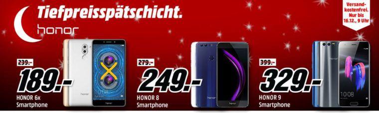 Media Markt Honor Tiefpreisspätschicht   HONOR 9 64 GB Schwarz Dual SIM für 329€