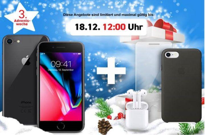 Apple iPhone 8 + Airpods + Case für 1€ + z.B. O2 Allnet & SMS Flat + 10GB LTE ab 49,99€mtl.