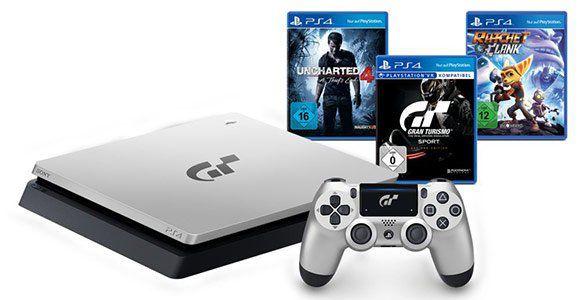 SONY PS 4 (1TB) Limited Edition GT Sport & 4 Spielen für 269,99€ (statt 290€)