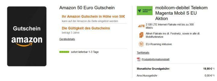 Top! Telekom Magenta Mobil S SIM only AllNet & SMS Flat + 2 GB Daten für eff. 19,95€ mtl. + 50€ Amazon Gutschein