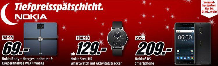 Media Markt NOKIA Tiefpreisspätschicht   z.B. NOKIA STEEL HR Activity Tracker für 129€ (statt 185€)