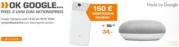 Saturn OK Google Aktion mit viel Zubehör und dem Pixel2 (Pixel 2XL) ab 649€