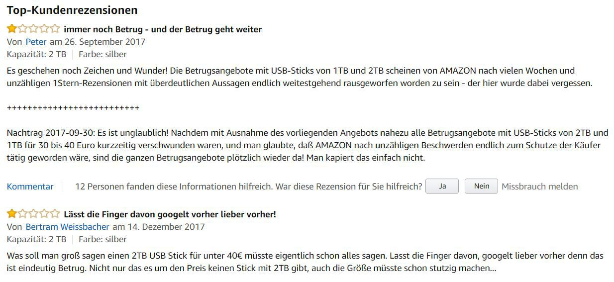 NEWS: Gefälschte 2 Terabyte USB Sticks bei Amazon und Ebay!