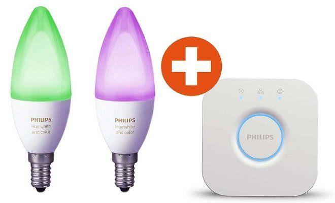 Top! Philips Hue White and Color Ambiance Starter Set   2 x E14 Leuchten mit Bridge für 69€ (statt 113€)