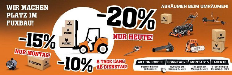 20% Rabatt auf alles von Fuxtec   günstige Gartengeräte