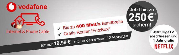 Vodafone Red Internet & Phone (200 Mbit/s) für eff. 34,99€ mtl. + 220€ Cashback + 12 Monate GiGa TV und Netflix kostenlos