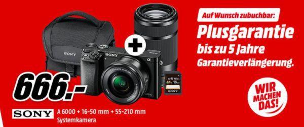 Sony Alpha 6000 Systemkamera mit 24 MP + 2 Objektiven + Zubehör für 670,99€ (statt 789€)