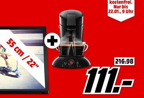 Philips 22PFS4022 + 22 Zoll TV + PHILIPS SENSEO HD6554 Padmaschine für 111€ (statt 188€)