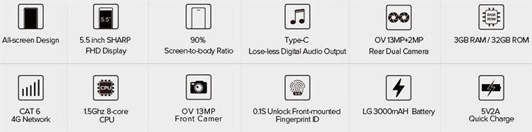 LEAGOO KIICAA MIX   5,5 Smartphone mit LTE, Octa Core, 32GB & 3GB RAM für 84,59€