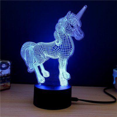 3D LED Lampe Einhorn für 4,89€