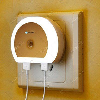 Neukunden: LED Nachtlicht mit Lichtsensor & 2 USB Ports für 0,81€