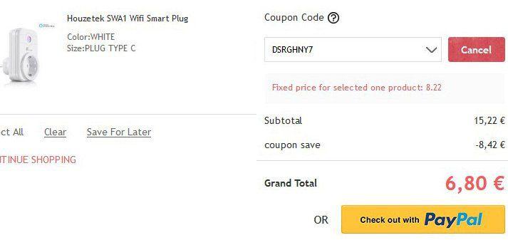 Houzetek SWA1 Wifi Smart Plug Steckdose (Alexa fähig) für 6,80€ (statt ~15€)