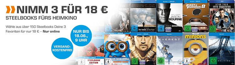 Saturn: 3 Blu rays im Steelbook für 18€