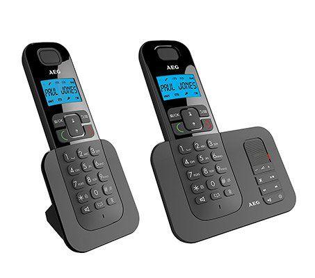 VORBEI! AEG Voxtel D505 Twin   Schnurloses DECT Telefon mit zusätzlichem Mobilteil, Freisprecheinrichtung, AB & Anrufblocker für 25€ (statt 45€)