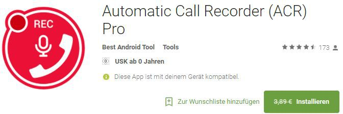 Automatic Call Recorder Pro (Android) gratis statt 3,89€