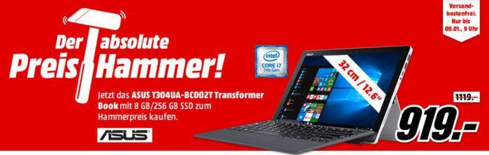 ASUS T304UA BC002T   12.6 Zoll Convertible mit i7 und 256 GB SSD für 919€ (statt 1.109€)
