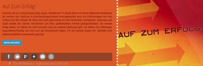 """Freikarten für """"Auf Zum Erfolg!"""" am 6. Februar in Hürth   inkl. Verpflegung und Aufwandsentschädigung"""