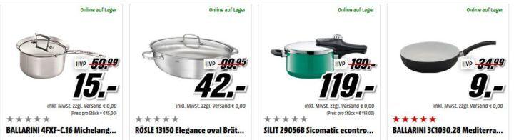 Media Markt: günstige Marken Töpfe & Pfannen, Messer & Besteck, Gläser & Geschirr und mehr