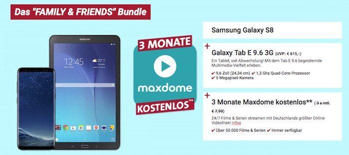 Samsung Smart Start   z.B. Samsung Galaaxy S8 + Galaxy Tab E 9.6 für 4,95€ + o2 Free M mit 10GB LTE für 39,99€mtl.