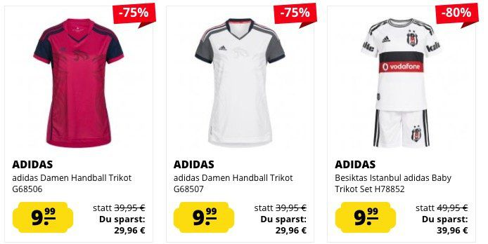 adidas Trikots für Damen, Herren und Kinder ab 6,99€ + VSK