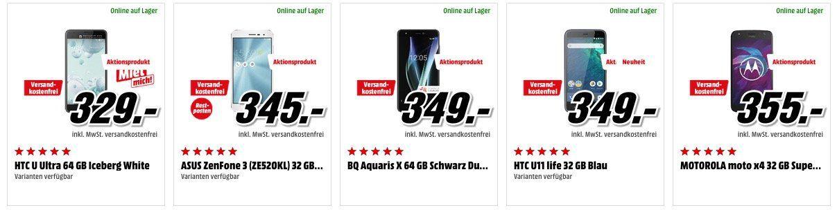 Media Markt Smartphone Aktion: z.B. HTC U11 statt 541€ für 447,20€