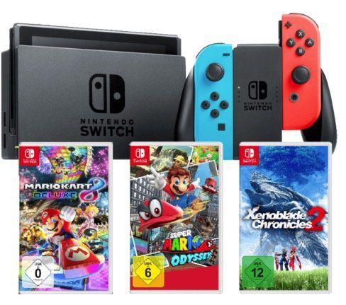 Nintendo Switch + 3 Spiele (Mario Adyssey, Mario Kart 8) ab 399€
