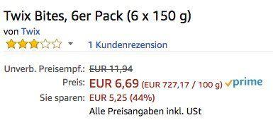 6er Pack Twix Bites (6 x 150 g) ab 6,96€ (statt 11€)