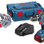 Bosch GSB 18-2 LI Plus Kombibohrer mit 3 Ah Akku + L-Boxx + 49-tlg. Bohrer-Set für 155,90€ (statt 190€)