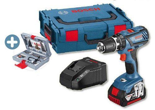 Bosch GSB 18 2 LI Plus Kombibohrer mit 3 Ah Akku + L Boxx + 49 tlg. Bohrer Set für 155,90€ (statt 190€)